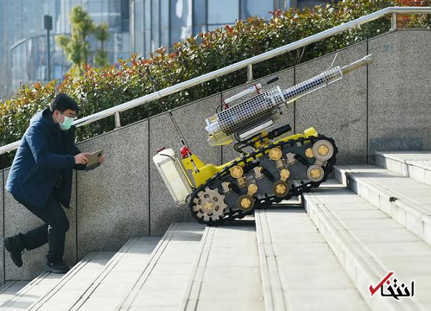 فعالیت ربات های ضدعفونی کننده در چین