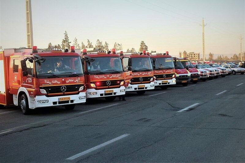 خبرنگاران خودروهای آتش نشانی پایتخت از آشیانه ها خارج شدند