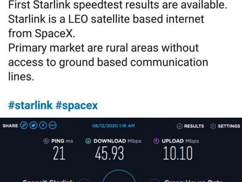 اولین تست سرعت اینترنت ماهواره ای استارلینک را ببینید